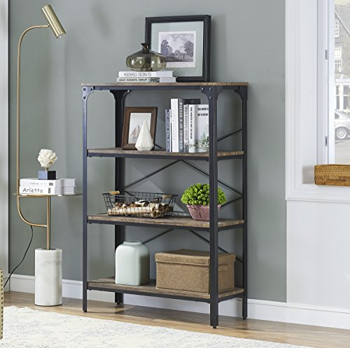 O&K FURNITURE 4-Shelf Industrial Open Bookcase, Wood and Metal Vintage Etagere Bookshelf for Living Room, Gray-Brown ()