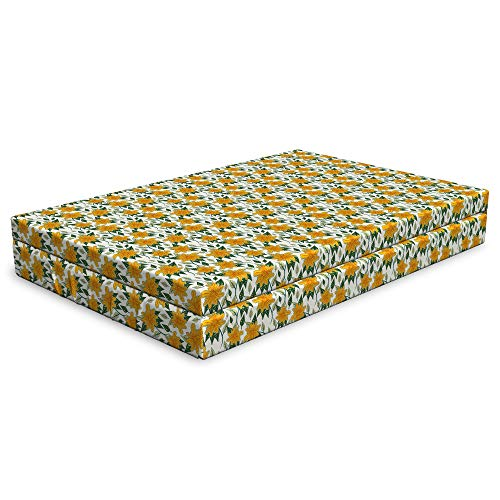 Lunarable Floral Dog Bed, Sunflower Interpretation Spring Leaves, Durable Washable Mat with Decorative Fabric Cover, 48