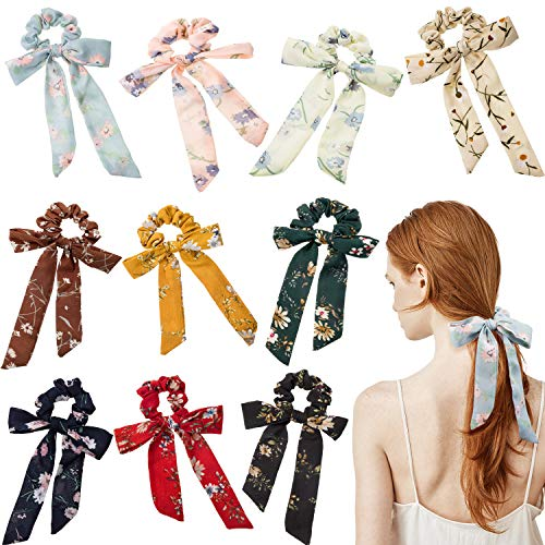 10 Pieces Women's Hair Scrunchies Chiffon Flowers Elastic Hair Bands Bow Hair Tie Chiffon Ponytail Holder for Women and Girls, 10 Colors (Style A)