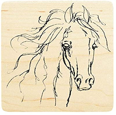 """{Single Count} Unique & Custom (4"""" Inches) """"Wild Horse Filly"""" Square Shaped Genuine Wood Mounted Rubber Inking Stamp"""