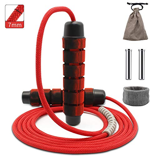 Weighted Jump Rope, Adjustable Workout Jump Ropes with Soft Memory Foam Handles for Women and Men, Heavy Duty Jump Ropes…