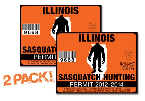 Illinois-SASQUATCH HUNTING PERMIT LICENSE TAG DECAL TRUCK POLARIS RZR JEEP WRANGLER STICKER 2-PACK!-IL