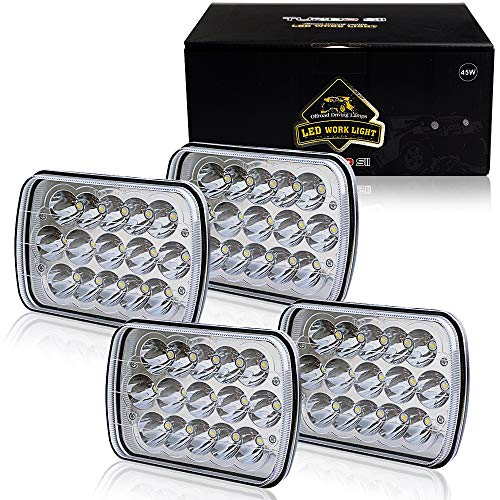 TURBOSII DOT Approved 5X7 7X6In Led Headlight Hi/Lo Sealed Beam Replace H6054 Hid Headlamp Jeep Wrangler JK Cherokee XJ YJ JKU 4x4 Toyota Tacoma pickup Dodge Ram Ford F250 E350 Chevy Corvette van 4PCS