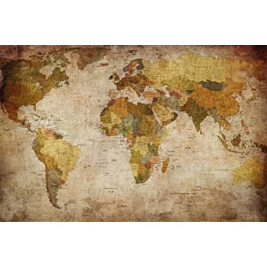 GREAT ART XXL Poster World map photo wallpaper vintage retro motif - XXL world map mural - wall art decoration 55 Inch x 39.4 Inch