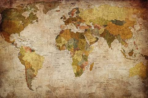 Wallpaper used look – wall picture decoration Globe Continents Atlas World Map Earth Geography retro old school vintage map poster wall decor by GREAT ART (132.3 Inch x 93.7 Inch/336 x 238 cm)