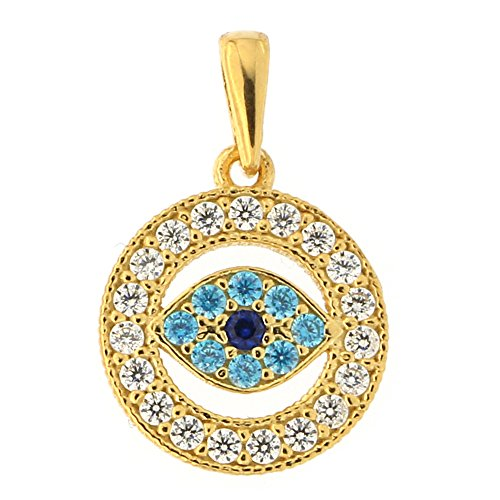 Beauniq 14k Yellow Gold Simulated Sapphire Simulated Blue Topaz Cubic Zirconia Evil Eye Pendant ()