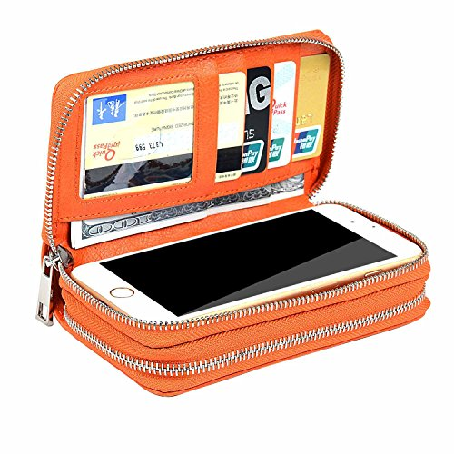 XeYOU Women 6.5inch Multi-function Zipper Leather Wallet Case with Card and Money Slots for IPhone 6 7 8 Plus X 5s 6s and Samsung Galaxy S9 Note 8 (Orange) (Note Multifunction Leather)