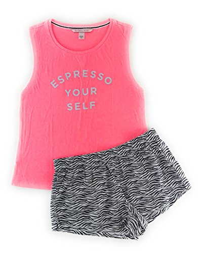 (Victoria's Secret Mayfair Graphic Tank and Short Set Large Pink Espresso/Black Zebra)