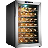 Electro Boss | 28 Bottle Thermoelectic Wine Cooler | Stainless Steel | Beverage Refrigerator | Reversible Door