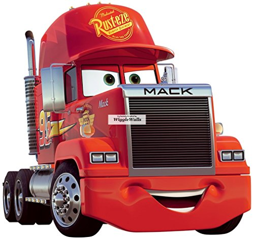 - 9 Inch Mack Truck Team McQueen Rig Wall Decal Sticker Disney Pixar Cars 3 Movie Truck Removable Peel Self Stick Adhesive Vinyl Decorative Art Room Home Decor Kids Room Racing Decor 9 by 9 1/2 inch