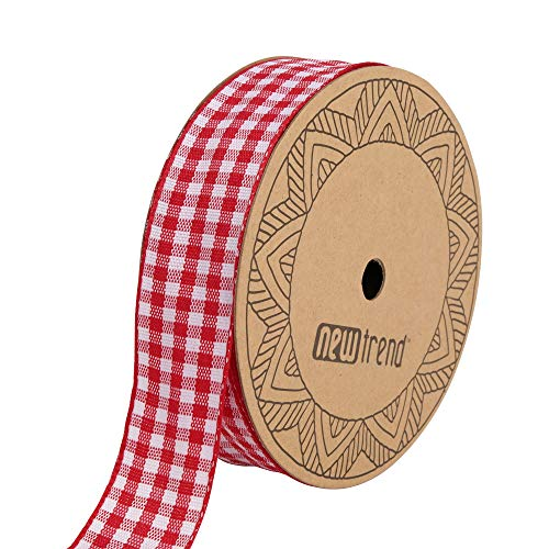 Newtrend Wired Edge 1 inch Gingham Buffalo Plaid Checked Packing Ribbon 20yds per Rolls (red, 1