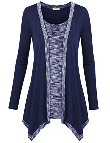 Women Cardigans on Sale,Timeson Women's Irregular Long Sleeve 2-in-1 Vest Cardigan with An Open Front Deep Blue X-Large