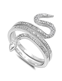 CHOOSE YOUR COLOR Sterling Silver Snake Ring