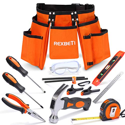 REXBETI 15pcs Young Builder's Tool Set with Real Hand Tools, Reinforced Kids Tool Belt, Waist 20