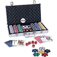 Styleys 300 Chip Dice Style Poker Set in Aluminum Case (11.5 Gram Chips) , 2 Decks of Cards, 5 dice