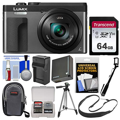 (Panasonic Lumix DC-ZS70 4K Wi-Fi Digital Camera (Silver) with 64GB Card + Case + Battery & Charger + Monopod + Tripod + Strap + Cleaning Kit)