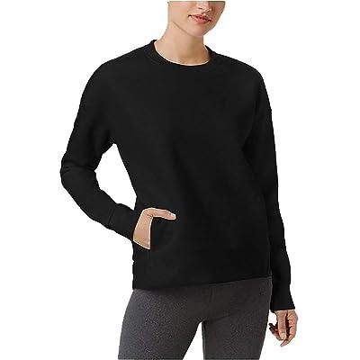 32 DEGREES Women's Drop-Shoulder Fleece Top Black Medium at Women's Clothing store