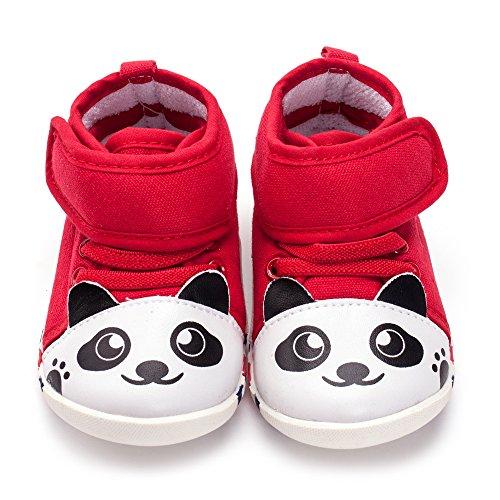 ESTAMICO Unisex Baby Jungen Mädchen Panda High-Top Turnschuhe Kleinkind Lauflernschuhe Red
