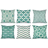 Decorative Pillow Cover - Top Finel Durable Cotton Linen Square Decorative Throw Pillows Cushion Covers Cases Pillowcases For Sofa 18 x18 inch Set of 6 -Series