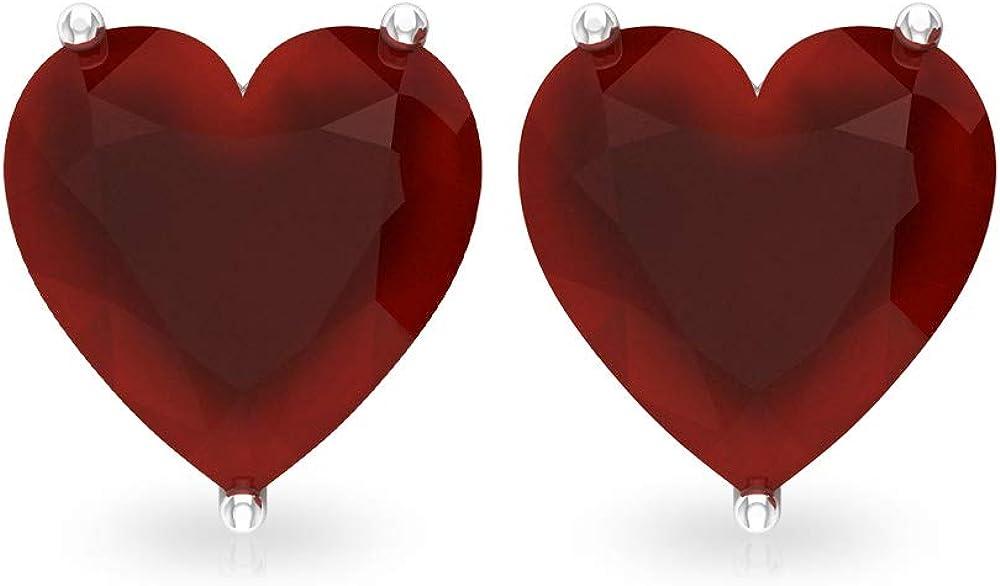 Pendientes de tuerca de ónix rojo con forma de corazón de 3 quilates, piedras preciosas para novia, declaración de dama de honor, pendientes vintage de boda, tornillo hacia atrás, 18K Oro