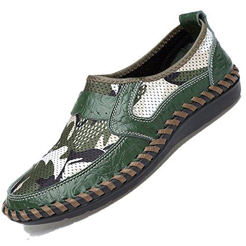 da scarpe 01 pelle marchio scarpe in casual estive moda Verde slip on traspirante confortevole uomo Bebete5858 uomo scarpe estate morbido mesh vera xfnYqBI