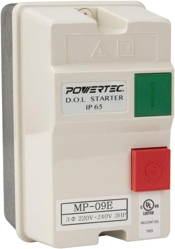 POWERTEC 71442 Magnetic Switch Box, 220/240V, 3 HP, 8-12 Amps w/Phase Failure Protector-UL Approve, multi color