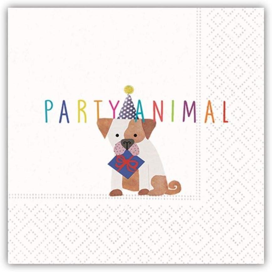 Party Animal Beverage Napkins - Fun Dog Design, Birthday Party Supplies, 20 Beverage Napkins