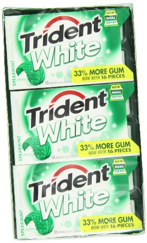 Trident Gum, White Spearmint, 16 Count (Pack of 9)
