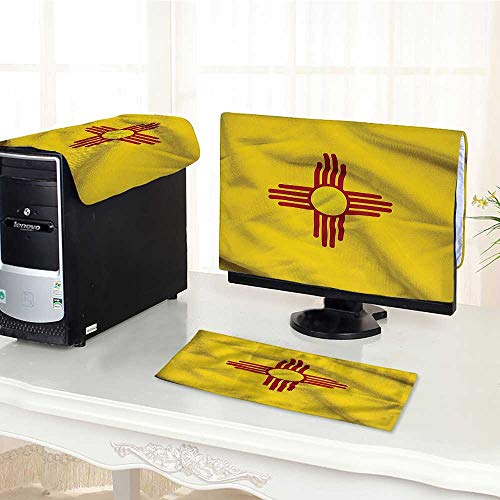 Guccis New Collection - Computer Cover 3 Pieces Collection New Mexico of United States Flag Sun Symbol of The Zia on Antistatic, Water Resistant /19