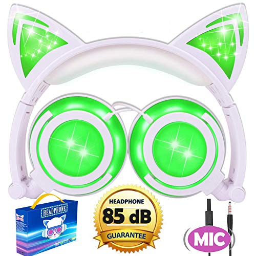 Cat Headphones,Kids Cat Ear Headphones Boys Girls with Mic 85dB Volume Control,Led Glowing Wired Kids Headphones Foldable Over On Game Headset Toddlers Xmas Holiday Tablet School Travel Gifts (Green)