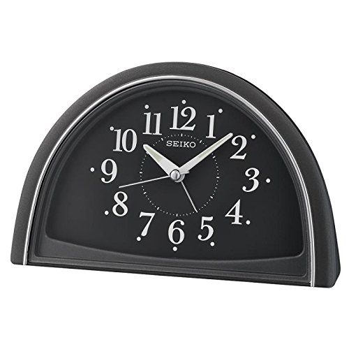Seiko Analogue Beep Alarm Clock, Black, 11.8 x 8.5 x 18.5 cm