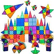 PicassoTiles 100 Piece Set 100pcs Magnet Building Tiles Clear Magnetic 3D Building Blocks Construction Playboa