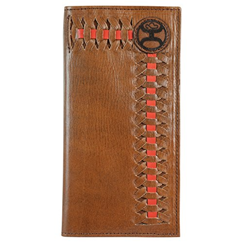 Hooey Brand Signature Red/Brown Interlaced Dark Brown Leather Rodeo Wallet - 1829137W5