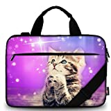 AUPET 11 11.6 12 12.5 12.9 13-13.3 inch Canvas Laptop Sleeve Bag Carrying Messenger Bag Briefcase with Handle and Adjustable Shoulder Strap & External Side Pocket,for ASUS/HP/DELL/Acer (Wish Cat)