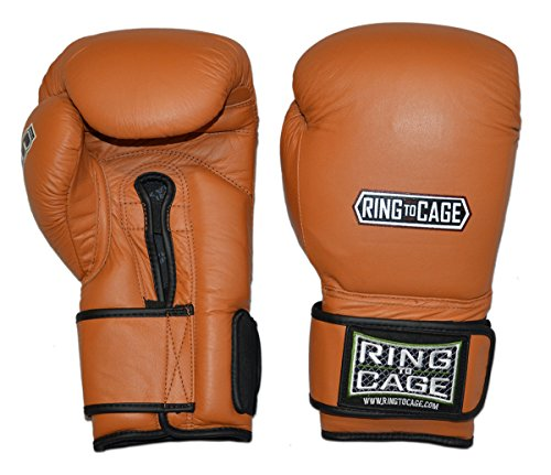 34oz and 50oz Deluxe MiM-Foam Sparring Boxing Gloves - Safety Strap for Muay Thai, MMA, Kickboxing, Boxing (Tan(Brown)/Black 50oz) (Gloves Boxing Raja)