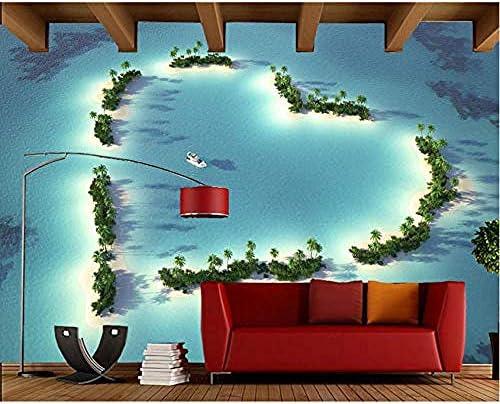 海の上のハート形のビーチナチュラル3D壁紙リビングルームテレビソファウォールベッドルームウォールペーパーホームDeocr壁画-400X280Cm