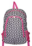 High Fashion Print Medium Sized BackpackCustom Personalization Available (Black and White Twist with Pink Trim)