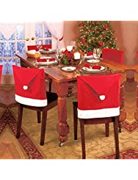 Christmas Hat Chair, ღ Ninasill ღ Exclusive Home Decor Dinner Chair Xmas Cap Sets (Red)