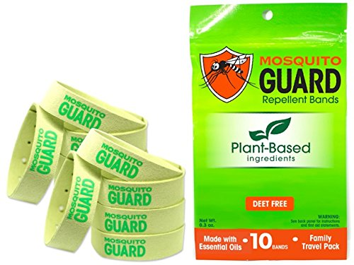(Mosquito Guard Repellent Bands/Bracelets (10 Pack) Made with Natural Plant Based Ingredients - Citronella, Lemongrass Oil. DEET Free)