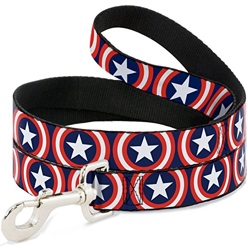 Dog Captain America (Buckle-Down Pet Leash - Captain America Shield Repeat Navy - 4 Feet Long - 1