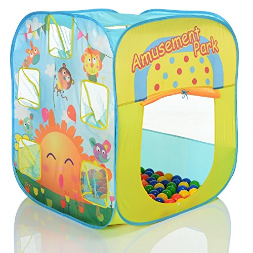 LCP KIDS Pop Up Spielzelt Multicolor als Kinder Spielhaus und Bällebad mit 100 bunten Bällen