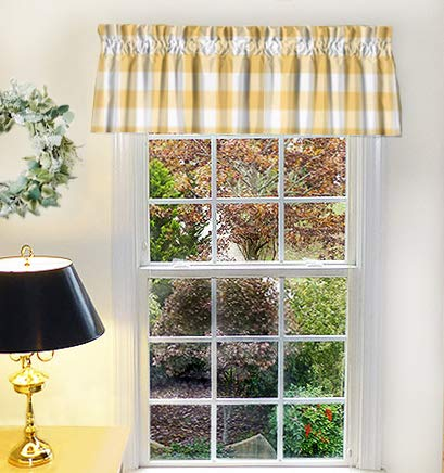Appleberry Attic Made To Order Window Treatments Yellow Bathroom Curtains For Farmhouse Kitchen Window Valance Yellow Curtain Panels Buffalo Check Valances Made In Usa Buy Online In Gambia At Gambia Desertcart Com Productid