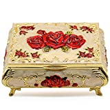 AVESON Luxury Vintage Rectangular Metal Alloy Jewelry Box Organizer Storage Box Ring Trinket Case for Women Girls, Christmas Birthday Gift, Small, Gold & Red