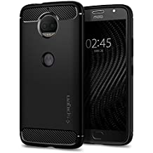 Spigen Rugged Armor Moto G5S Plus Case with Resilient Shock Absorption and Carbon Fiber Design for Moto G5S Plus - Black