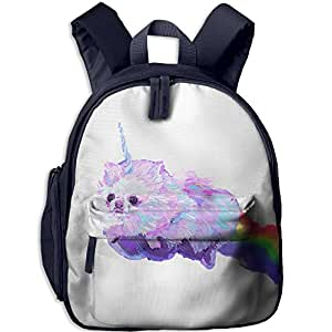 Children's Unicorn Puppy Dog Lying On The Rainbow Book Bags/Packbags School Bag For Kids