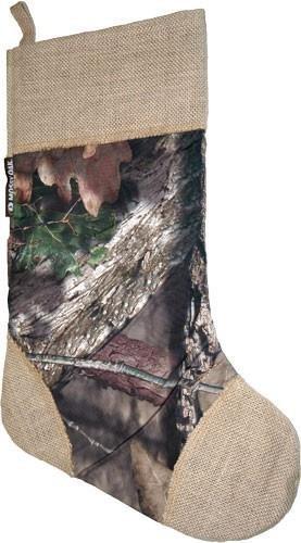 - Mossy Oak Christmas Stocking - Burlap and Mossy Oak Pattern