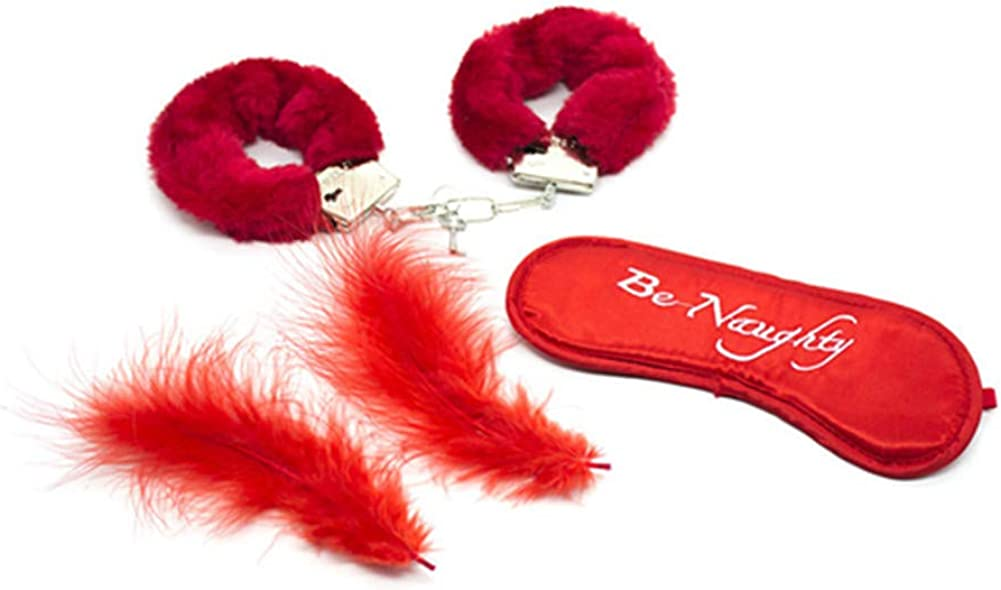 Tcouplesexy fun plush red type Wrist Cuffs sex for feather Leather Blindfold red