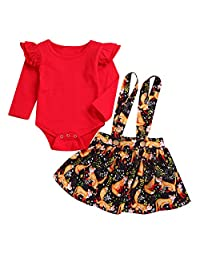 2Pcs Baby Girl Frill Sleeve Romper+Fox Print Suspender Skirt Outfits For 0-24M (Color : RED+YELLOW, Size : 12-24M)