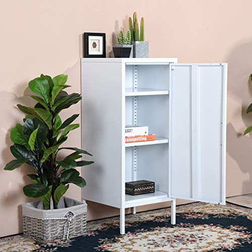 FurnitureR Storage Cabinets Floor Cabinet with Single Doors and Shelves Metal Organizer Unit Free Standing Collection 3 Tier Printing in White for Bathroom Living Room Home Office
