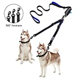 Double Dog Leash - YOUTHINK Double Dog Leash, No Tangle Dog Walking leash for 2 Dogs up to 180lbs, Comfortable Adjustable Dual Padded Handles, Bonus Pet Waste Bag
